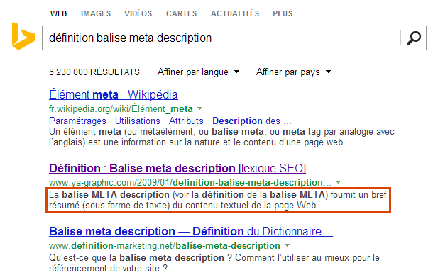 Les snippets affichés dans les résultats de Bing.com