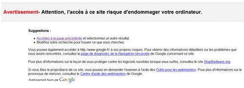 Avertissement de Google