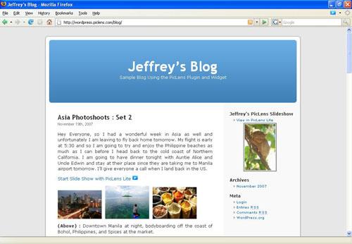 Télécharger le plugin PicLens pour WordPress