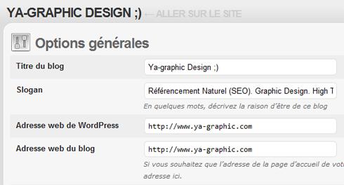 Options générales de WordPress