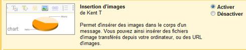 Activer l'option « Insertion d'images » de Gmail dans les fonctionnalités Labs