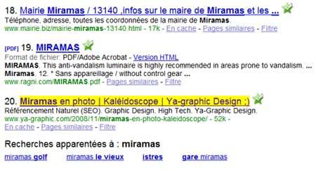 Ya-graphic.com apparaît surligné en jaune pour le mot clé « Miramas »