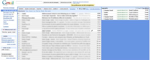 Boîte de réception Gmail et l'autre boîte récemment ajoutée