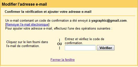Code de confirmation de votre adresse Gmail