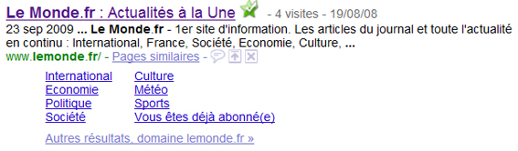 Sitelinks du site d'information Lemonde.fr