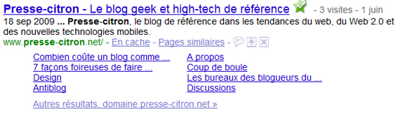 Sitelinks du blog geek et High-Tech Presse-citron.net