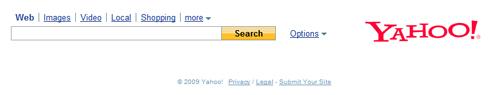 Page d'accueil de Yahoo! Search