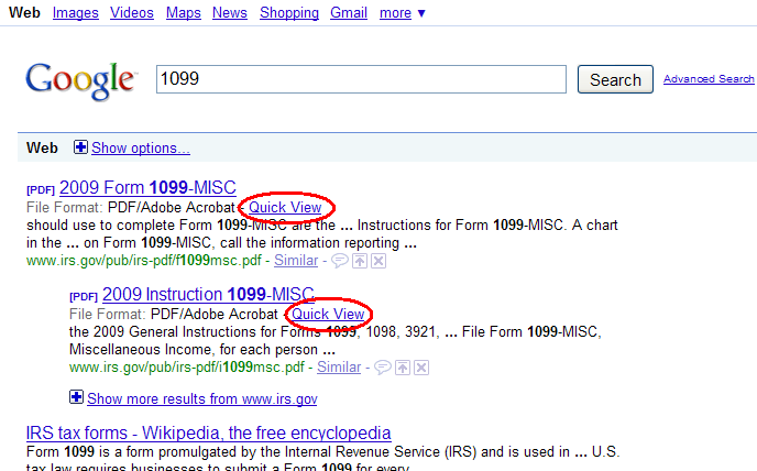 Google : Affichage rapide de fichiers PDF dans les résultats de recherche