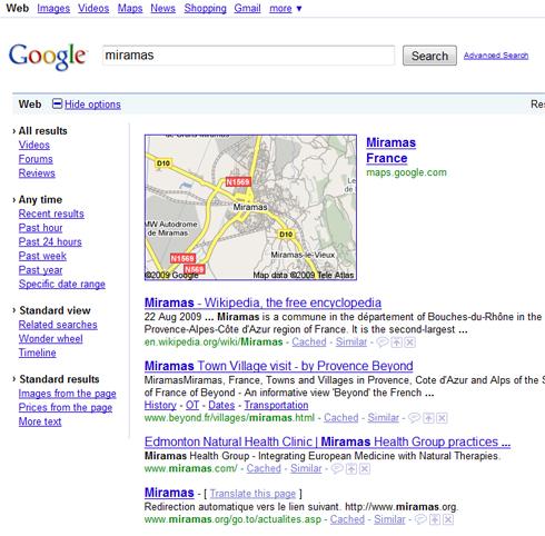 Nouvelles options du moteur de recherche Google