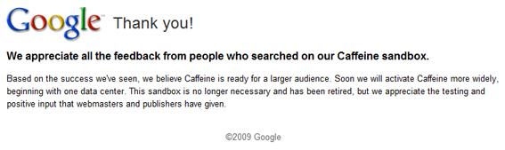 Google Caffeine arrive !