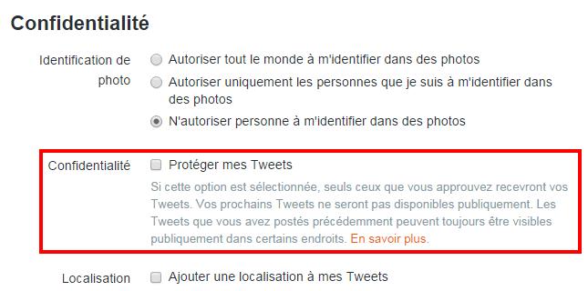 Protéger mes tweets - Confidentialité Twitter