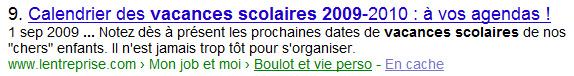 Requête tapée dans google : « vacances scolaires 2009 »