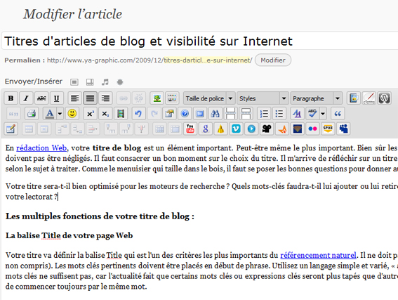 Titre d'article de blog