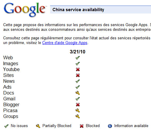 Services Web de Google en Chine