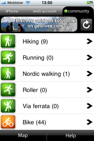 Application iPhone GeoLives