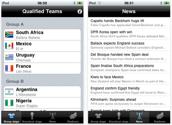 application iPhone iWorldCup