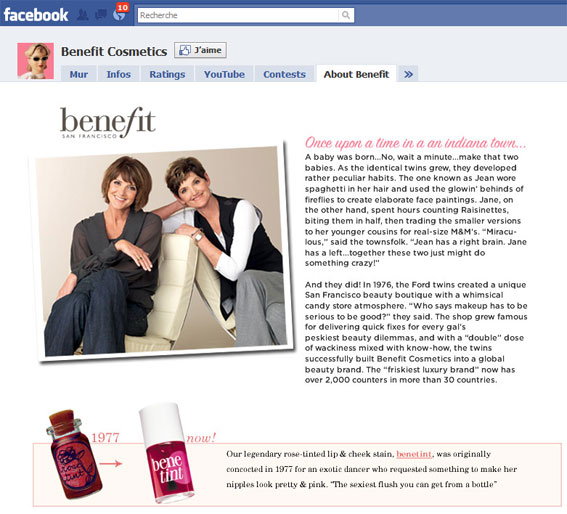 Page Facebook Benefit Cosmetics