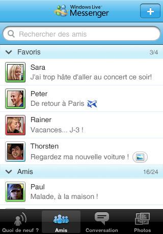 Windows Live Messenger application gratuite pour iPhone