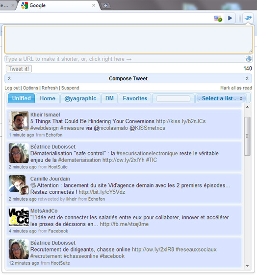 Chromed bird client Twitter pour Chrome