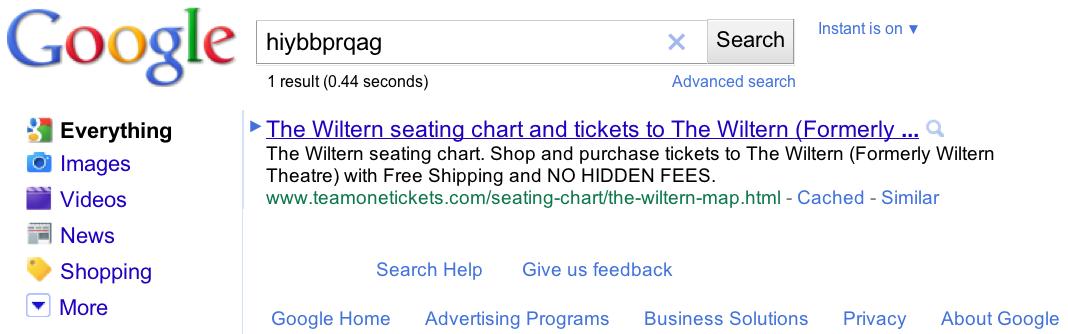 une recherche de [ hiybbprqag ] sur Google