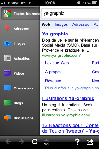 Google Search : nouveau look de l'application iPhone