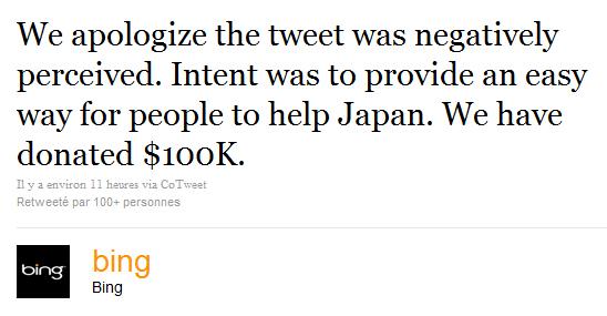 Les excuses de Bing sur Twitter.