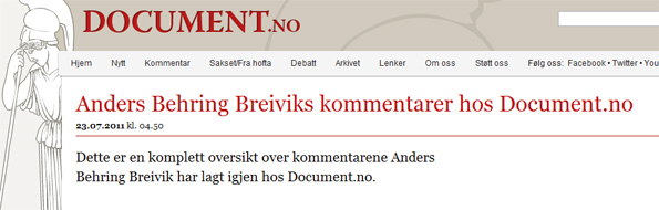 Les messages de Anders Berhing Breivik dans Document.no