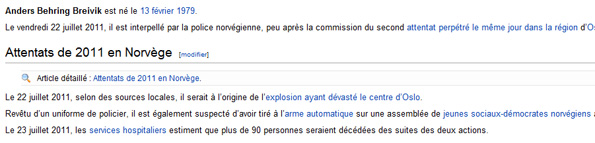 Anders Behring Breivik sur Wikipédia