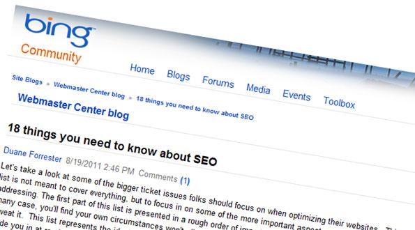 Bing donne une liste de 18 principes essentiels en référencement