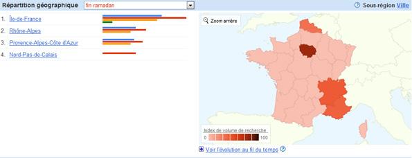 """Carte de France. Google Tendances des recherches """"fin ramadan""""."""