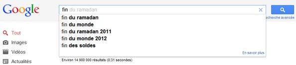 Fin du Ramadan dans les suggestions de Google