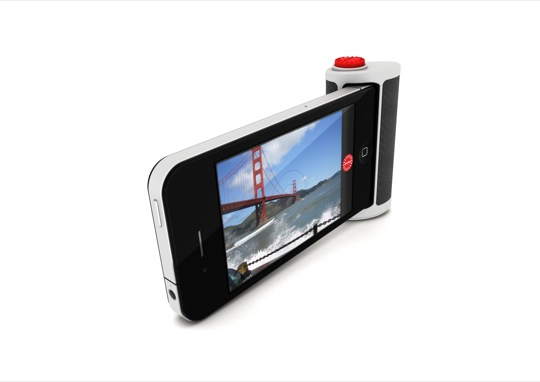 Autre vue du bouton d'obturateur pour iPhone créé par POPA