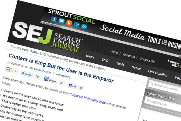 Le contenu est Roi, l'utilisateur un Empereur