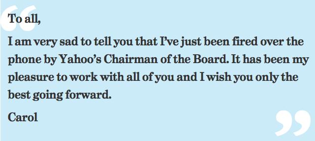 Carol Bartz virée de Yaoo. Le dernier message de Carol Bartz à son personnel.