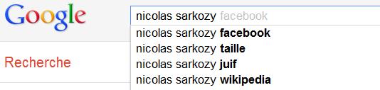 Nicolas Sarkozy - Suggestions de recherche de Google