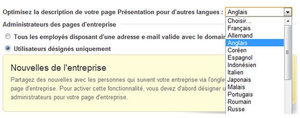 Présentation multilingue - Page entreprise LinkedIn