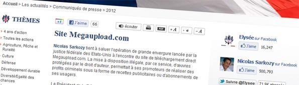 Communiqué de presse de l'Elysée : Le site Megaupload.com