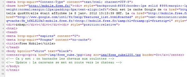 Code source de la page Mobile.free.fr