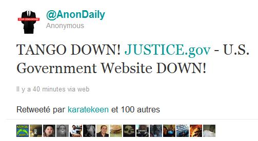 Le tweet d'Anonymous