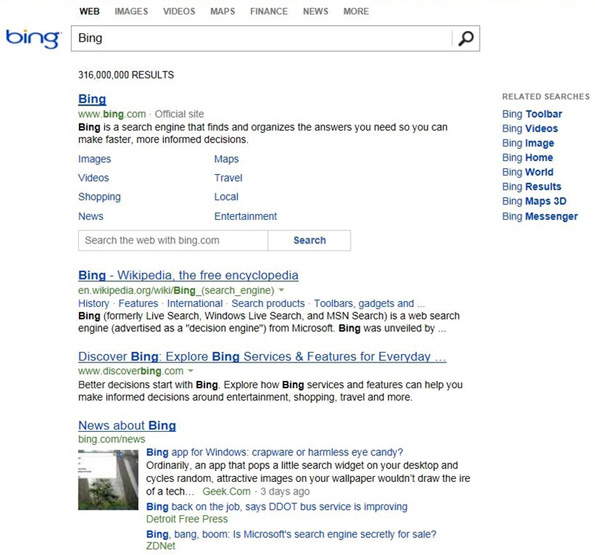 Bing: Nouveau design minimaliste