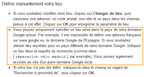 Dfinir manuellement votre lieu Google