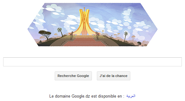 Google Doodle pour fter l'indpendance de l'Algrie, proclame en 1962