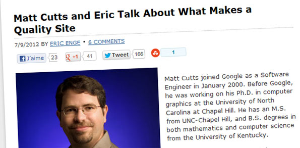 L'interview entre Matt Cutts et Eric Enge à propos du site de qualité