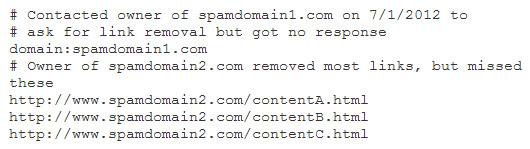 """Fichier texte """"désavouer des liens"""" à soumettre à Google"""