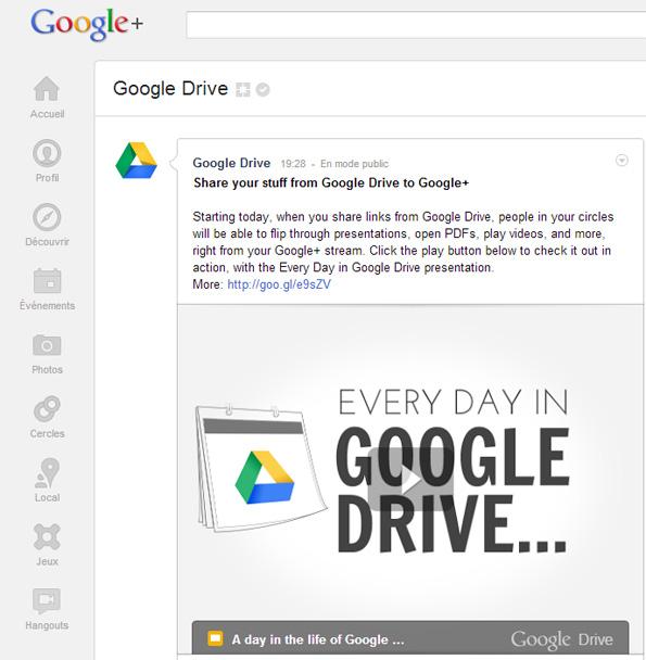 Partager des documents Google Drive dans le réseau social Google+