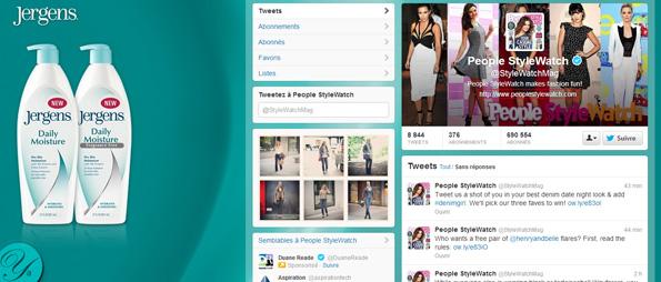Publicité arrière-plan Twitter