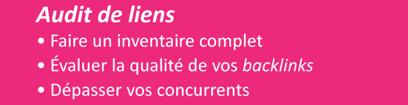 Audit de liens entrants (backlinks) et sortants