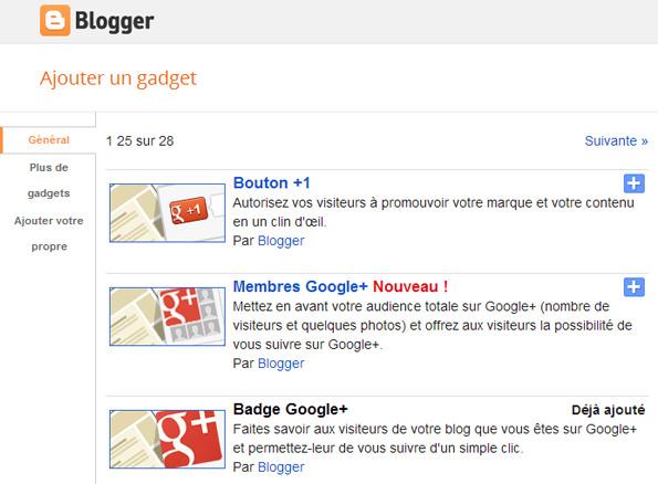 Google+ intégré dans Blogger