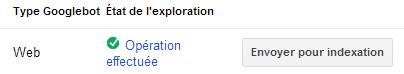 État de l'exploration via Google Webmaster Tools, puis proposition d'indexation de la page web.