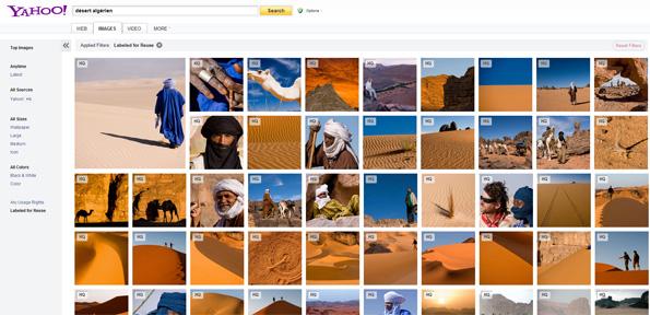 Photos de Flickr dans le moteur de recherche d'images de Yahoo!